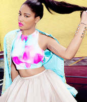 jacket,studs,tutu,skirt,crop tops,cropped,ponytail,hairstyles,floral,colorful,keke palmer,jewels,style,lipstick,magazine,tattoo,girly,fashion,blue,pink,dress,tank top