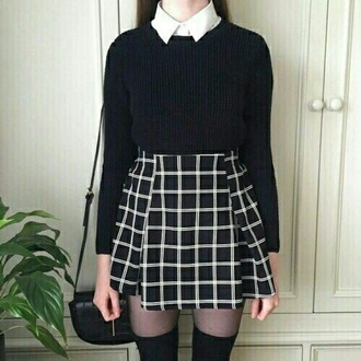 skirt grid skirt plaid skirt pleated grid skirt skater skirt black skirt