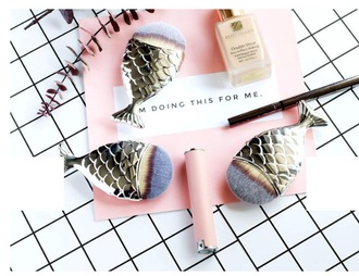 make-up girly metallic makeup brushes cute
