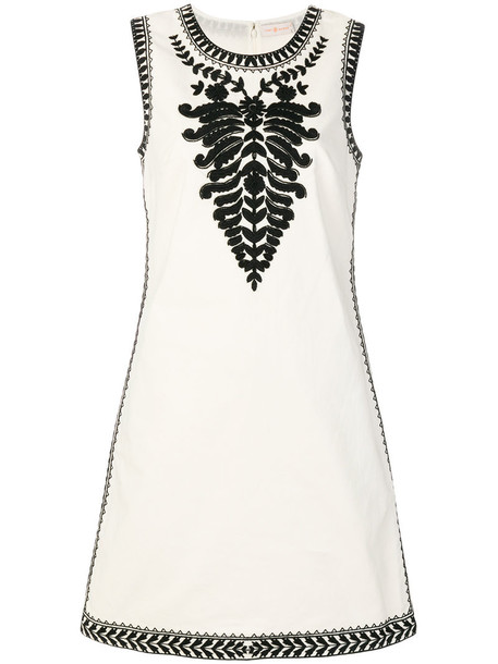 Tory Burch dress embroidered dress embroidered women white cotton