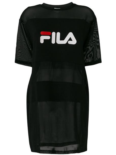 fila t-shirt shirt t-shirt long women spandex black top