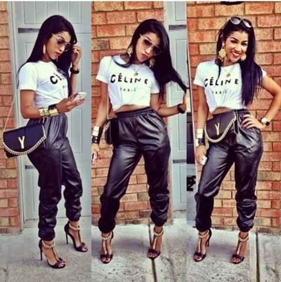 celine shirt shoes killem dopeish keepin it fresh flawless leather black perfecto dope stay classy leather vintage bag just so sexy, gorgeous, best bitch, baddie, 😍😘😎👅💦👄🔥👀👊👊👌👍👑👑💄💄🎀 pants