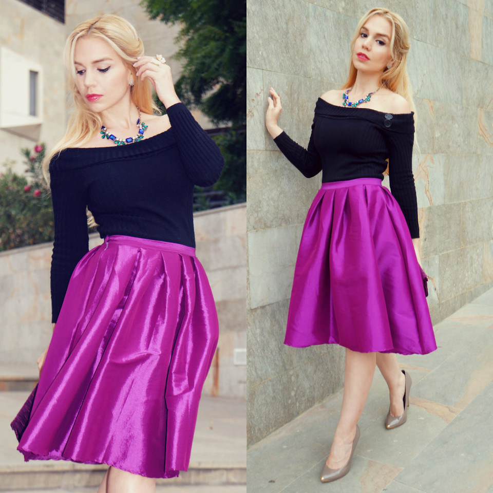 Purple A-line Midi Skirt - Retro, Indie and Unique Fashion