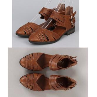 shoes brown cognac shoes flat sandals flats sandlas