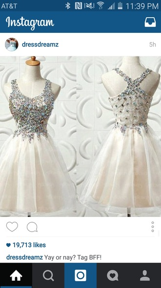 dress white creme sparkle jewels racerback prom homecoming beautiful cute poofy satin elegant formal