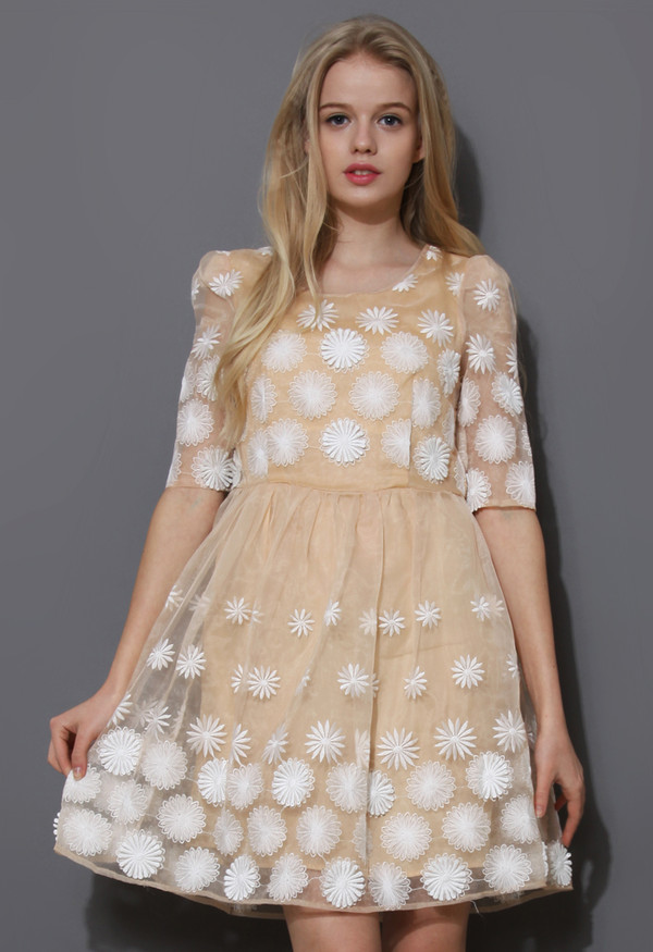 dress daisy embroidered mid-sleeve organza