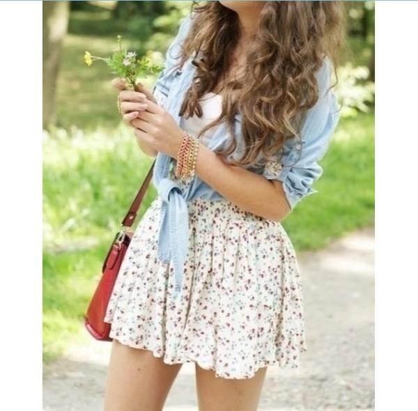 skirt dress denim jacket spring summer dress jacket shirt fashion style flowers loose floral skirt floral skater skirt skater skirt floral