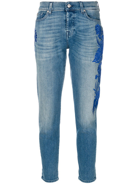 7 For All Mankind - embroidered slim-fit jeans - women - Cotton/Spandex/Elastane - 29, Blue, Cotton/Spandex/Elastane