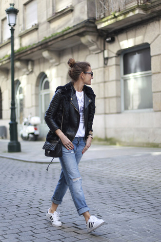 b a r t a b a c blogger leather jacket ripped jeans faux fur vest graphic tee adidas shoes
