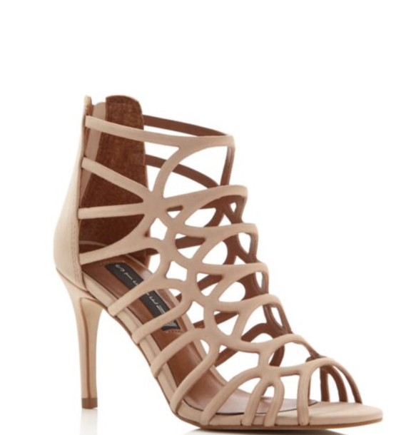 Shoes: short heels 3 inch heels natural caged sandals heels