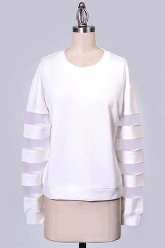 White Mesh Sweatshirt - JuJu's Closet