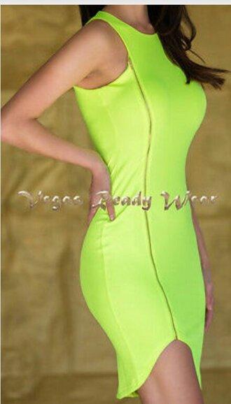 dress neon zip structured bright yellow dress charmeuse green dress round neckline high low bodycon dress stretch las vegas