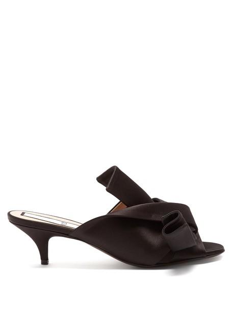 open mules satin black shoes