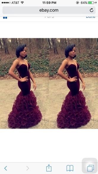 dress prom dress prom burgundy marsala sweetheart dress ruffle velvet pretty prom gown mermaid prom dress long prom dress