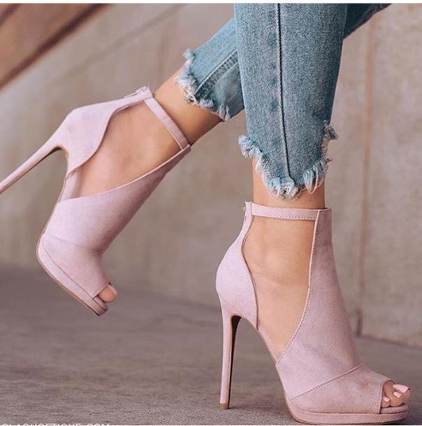 shoes heels peep toe heels powder pink pink high heels