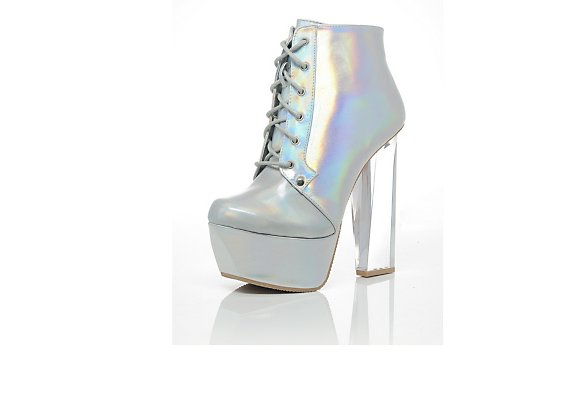 QUPID  Hologram Perspex Boot - BANK Fashion