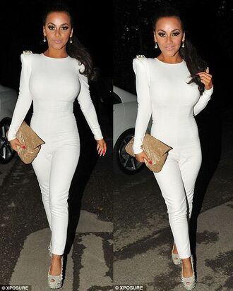 dress jumpsuit white one piece long sleeves jeweled shoulders gold silver high heels all white everything white jumpsuit