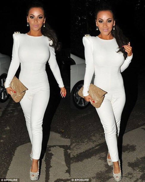cb6f76669260 dress jumpsuit white one piece long sleeves jeweled shoulders gold silver  high heels all white everything