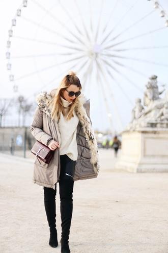 caroline louis pardonmyobsession blogger coat shoes bag sweater pants ysl bag turtleneck sweater black pants spring outfits winter outfits