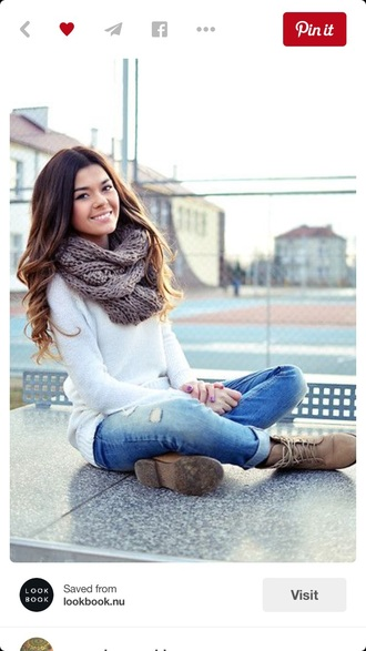 sweater white sweater jumper blouse shoes scarf