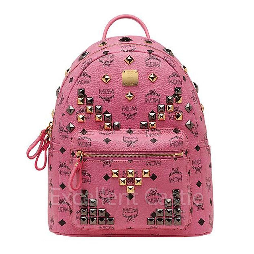 2014 new genuine mcm small stark backpack pink color ebay. Black Bedroom Furniture Sets. Home Design Ideas