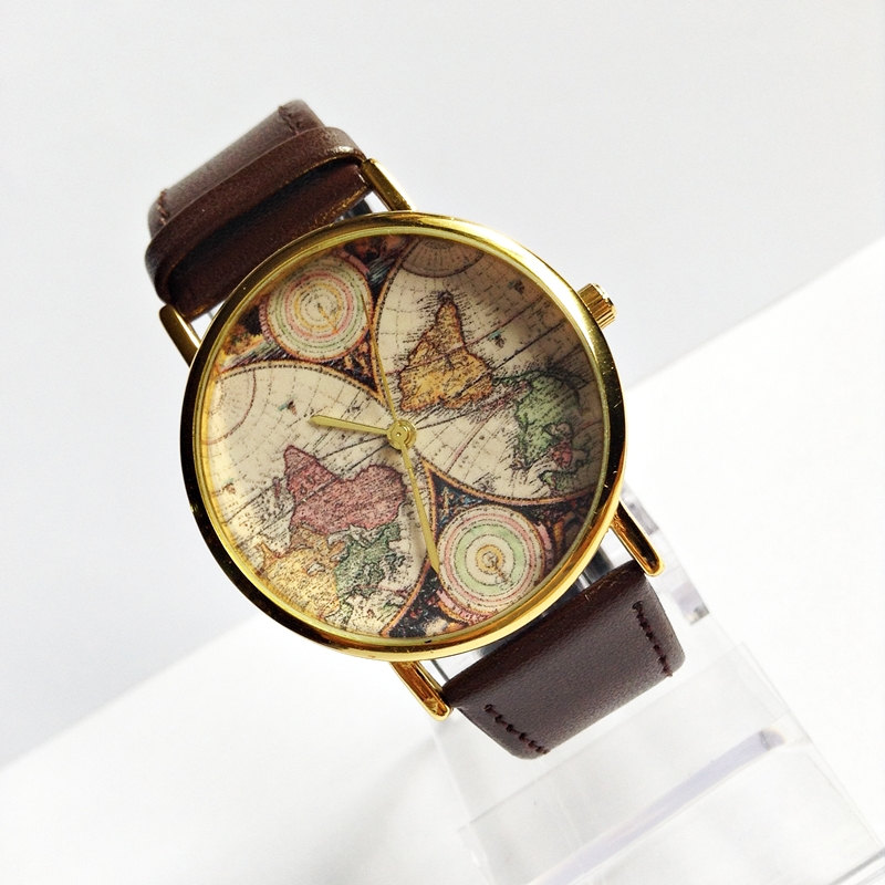 Genuine Leather Map Watch, Vintage Style Leather Watch , Women Watches,Mens Watch, Boyfriend Watch, World Map, Brown,