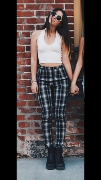 Pants: cute, stylish, women's, black high waisted pants, plaid ...