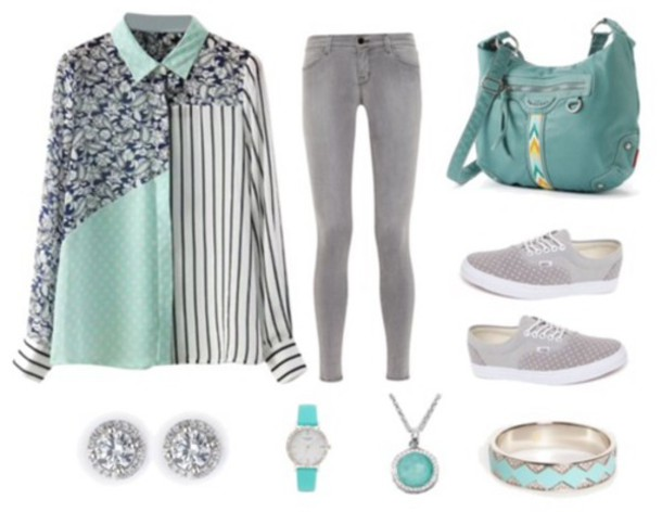 shirt aqua striped shirt polka dots grey jeans vans