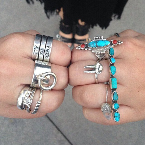 jewels stacked jewelry ring knuckle ring tooth ring torquioise ring