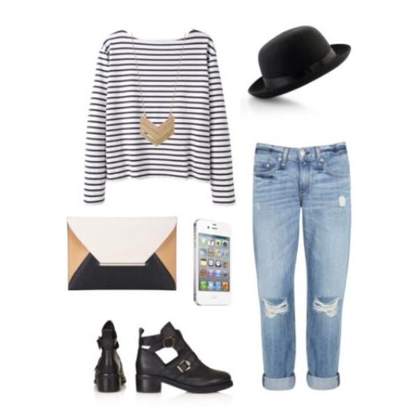 top stripes stripey black and white long sleeves cute lovely chic stylish boyfriend jeans gold necklace gold necklace black boots jeans jewels