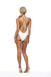 swimwear,cheeky,one piece,white,v neck,plunging,fashion,clothes,bikini,peixoto