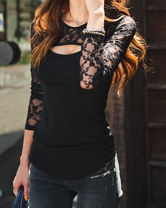 top black dress black lace cut offs cute top asian black lace stylish all black everything style girly noir cute