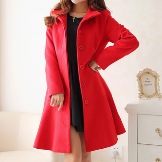 coat stand collar ruffle wool coat long sleeves red coat