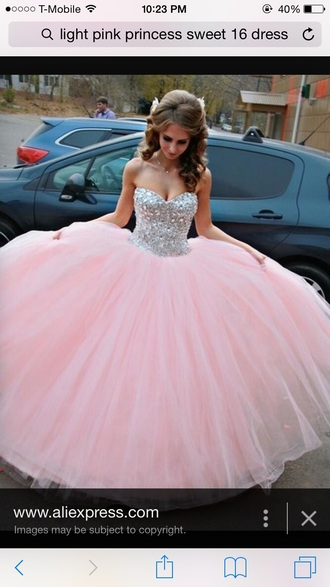 dress baby pink silver dress gown puffy dress sweet 16 dresses