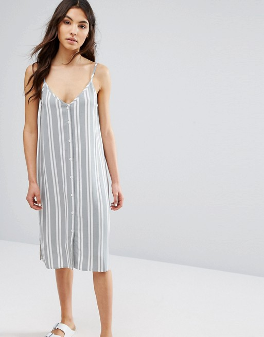 88a0d6c4372 Native Youth Button Front Cami Midi Dress In Stripe at asos.com