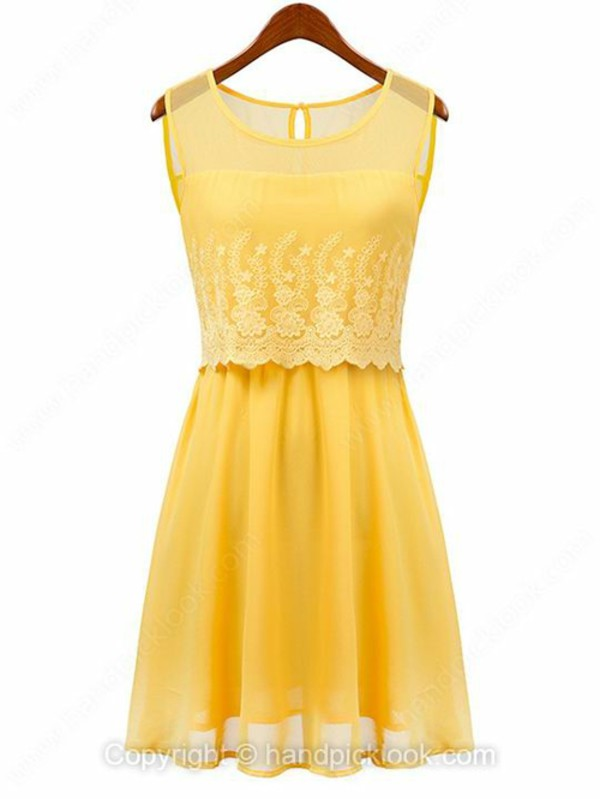 yellow dress yellow lace dress sleeveless dress elegant dress girly dress handpicklook.com