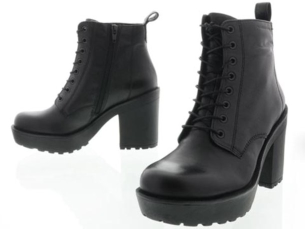 Shoes: boots, black, vagabond, lace up, platform shoes, platform ...