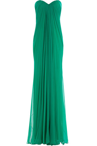 gown chiffon silk green dress
