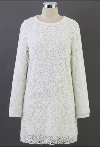 Lacy Shift Dress in White - Retro, Indie and Unique Fashion