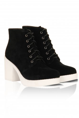 Black Suede White Rubber Sole Chunky Block Heel Ankle Boots -  from Lavish Alice UK