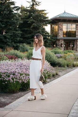 dress midi dress tumblr white dress belt shoes mules