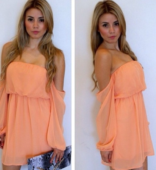 dress peach dress off the shoulder chiffon off the shoulders