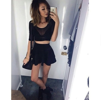 top mesh crop tops black crop top bralette skater skirt all black everything booties grunge tumblr outfit tumblr shirt tumblr shoes tumblr skirt tumblr girl stylish style trendy outfit idea body goals blogger fashion inspo on point clothing skirt