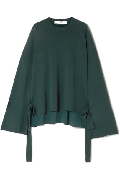 Tibi sweater wool sweater dark silk wool green
