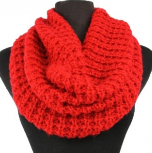 Soft Warm and Cozy Solid Red Crochet Infinity Scarf