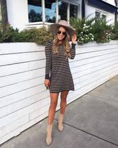 dress,swing dress,striped dress,mini dress,ankle boots,sunglasses,earrings,hat,shoulder bag