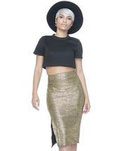 skirt,midi skirt,metallic skirt,gold metallic,gold skirt,gold metallic skirt