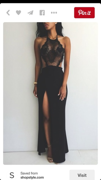 lace dress black dress slit dress sexy dress halter dress backless dress black lace heels the_jodiejoe brownskin dress