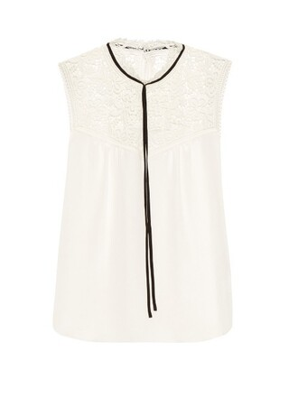 blouse sleeveless silk white top