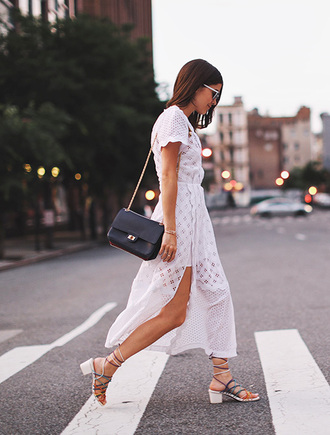 lefashion blogger sunglasses dress bag black shoulder bag shoulder bag black bag white dress romantic dress maxi dress slit dress sandals mid heel sandals summer outfits summer dress